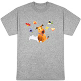Dog with Butterfly and Flowers T-shirts