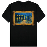 Starry Night Over the Rhone with Gilded Faux Frame Border T-Shirt