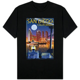 San Diego, California - Skyline at Night T-shirts