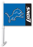 NFL Detroit Lions Car Flag with Wall Brackett Flag