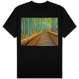 Bamboo Lined Path at Adashino Nembutsu-ji Temple T-Shirt