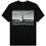 Whaleback Lighthouse Maine Black and White T-Shirt