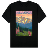 Alaska - Bear and Cubs Spring Flowers T-Shirt