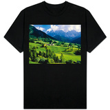 Santa Maddalena church in the Dolomites Mountains Shirts