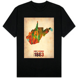 West Virginia Watercolor Map T-Shirt