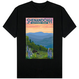 Shenandoah National Park, Virginia - Black Bear and Cubs Spring Flowers T-Shirt