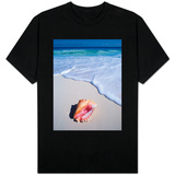 Mexico, Yucatan Peninsula, Carribean Beach at Cancun, Conch Shell on Sand T-Shirt