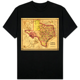 Texas - Panoramic Map T-shirts