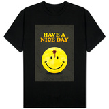 Have a Nice Day Smiley Face with Bullet Hole T-Shirt