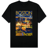 Boston, Massachusetts - Skyline at Night T-Shirt