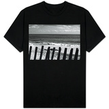 Beach Dunes Fence in Hamptons Black White Photo T-shirts