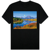 Full Moon Rising Over the Oxbow Bend T-Shirt
