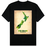 New Zealand Watercolor Map T-Shirt