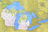 1973 Close-up USA, Wisconsin, Michigan, and the Great Lakes Map Prints