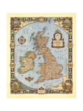 1937 A Modern Pilgrim's Map of the British Isles Prints by  National Geographic Maps