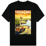 Santa Cruz, California - Woody and Lighthouse T-Shirt