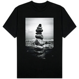 Balancing Rocks on Beach Black White Photo T-shirts