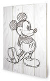 Mickey Mouse Sketched - Single Træskilt