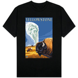 Yellowstone - Bison with Old Faithful T-Shirt