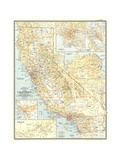 1954 California Plakater af  National Geographic Maps