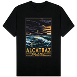 Alcatraz Island Night Scene - San Francisco, CA T-shirts