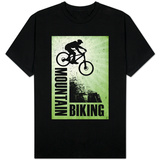 Mountain Biking Green T-shirts