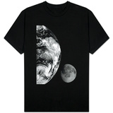 Earth and Moon From Space Black White Photo Shirts