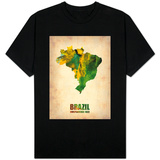 Brazil Watercolor Map Shirts