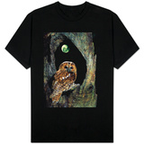 Tawny Owl Perched in Tree Below Nearly Full Moon T-Shirt