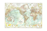 1957 World Map Prints by  National Geographic Maps