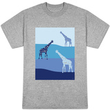 Blue Giraffes on Blue Plains T-shirts