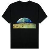Earth Rising Over Moon Surface T-shirts