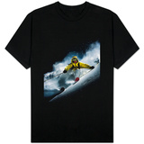 Night skiier on Les Arcs  French Alps T-Shirt