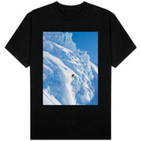 Skier going over edge of cliff T-shirts