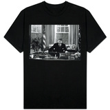 Ronald Regan Desk Oval Office Black White Archival Photo T-Shirt