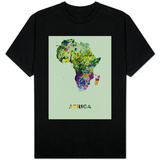 Africa Color Splatter Map T-Shirt