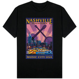 Nashville, Tennessee - Skyline at Night T-shirts