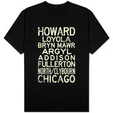 Chicago L Transit Stations Vintage Subway T-Shirt