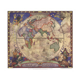 1928 Map of Discovery, Eastern Hemisphere Posters af  National Geographic Maps