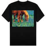 Horses Grazing Among Bluebonnets T-shirts