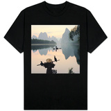 Cormorant fishermen in Li River T-shirts