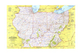 1977 Close-up USA, Illinois, Indiana, Ohio, Kentucky Prints by  National Geographic Maps