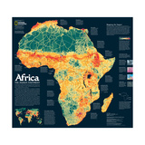 2005 Africa, the Human Footprint Map Prints by  National Geographic Maps