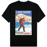 Skier Carrying Snow Skis, Lake Tahoe, California T-Shirt