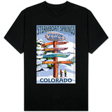 Steamboat Springs, Colorado - Ski Run Signpost T-shirts