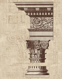 Architectural Rendering I Burlap Sepia Crop Prints by Hugo Wild
