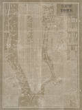 Blueprint Map New York Taupe Posters by Sue Schlabach