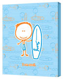 Boy- Swell Surfer Stretched Canvas Print