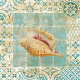 Shell Tiles II Blue Poster by Danhui Nai