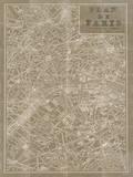Blueprint Map Paris Taupe Affiches par Sue Schlabach
